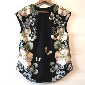 Ted Baker Sleeveless Top Black Floral
